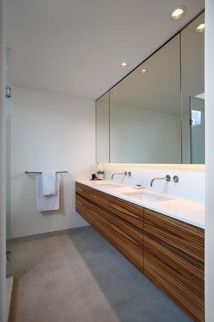 Contemporary Master Bathroom with Floating vanity, Pental Quartz Thassos, Concrete floors, Undermount sink, Flush