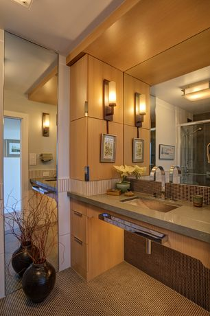 Contemporary Full Bathroom with Undermount sink, tiled wall showerbath, European Cabinets, Ceramic Tile, Limestone counters
