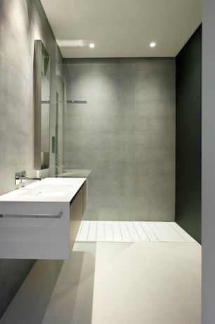 Contemporary Full Bathroom with Corian counters, Undermount sink, Full Bath, European Cabinets, Rain shower, can lights