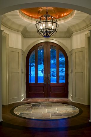 "Contemporary Entryway with 12"" slate tile, Chair rail, Board and batten, Paint, Arched door, Standard height, Paint 2"