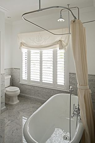 Traditional Full Bathroom with Rain shower, Signature hardware avon acrylic pedestal tub, Crown molding
