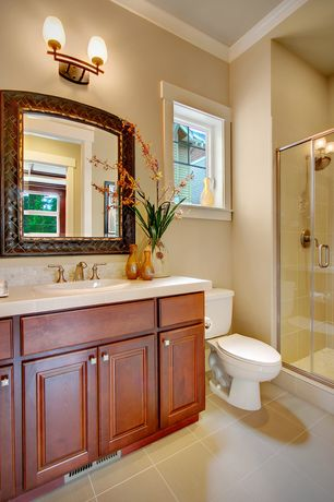 Craftsman 3/4 Bathroom with Crown molding, Stone Tile, Raised panel, Rain shower, Limestone Tile, Inset cabinets