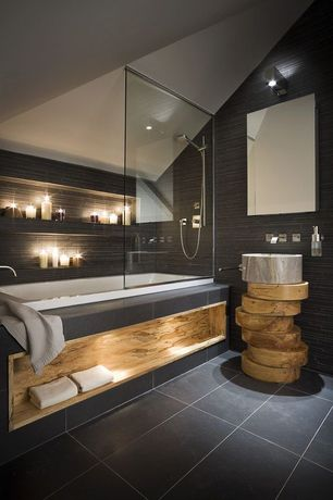 Contemporary Full Bathroom with Full Bath, Natural stone mosaic tile, Natural stone flooring, can lights, High ceiling, Paint