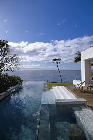 Contemporary Swimming Pool with Deck Railing, Infinity pool
