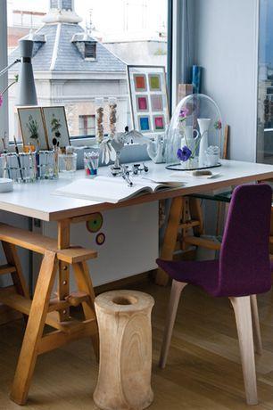 Eclectic Home Office with Hardwood floors, Linnmon/Finnvard Table, gray, beech, Sawhorse desk, High ceiling