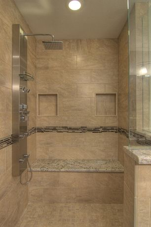 Contemporary Master Bathroom with MS Internation African Rainbow Granite, Daltile Granite Radiance Ubatuba Blend