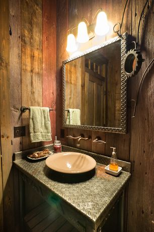 Country Powder Room with Aluminum Diamond Plate Picture Frame, Stainless Steel, Stone source, Reclaimed Oak, specialty door