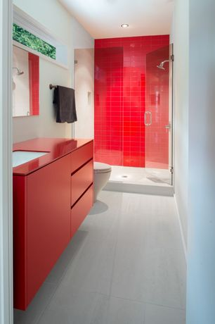 Modern 3/4 Bathroom with Loft Cherry Red Polished 3x6 Glass Tile, Corian counters, Flush, Undermount sink, European Cabinets