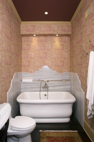 Eclectic Full Bathroom with Crown molding, drop-in sink, Pental Laser Polished Marble, Simple marble counters, Bathtub