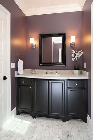 Contemporary Full Bathroom with Wall sconce, specialty door, Inset cabinets, Undermount sink, Complex marble counters