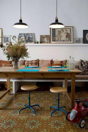 Eclectic Dining Room with Restoration Hardware 1900s Boulangerie Rectangular Extension Dining Table, Pendant light, Carpet