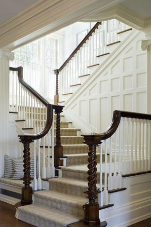 Traditional Staircase with Turncraft 6-in roman ionic poly/resin column cap and base, Crown molding, Exposed beam