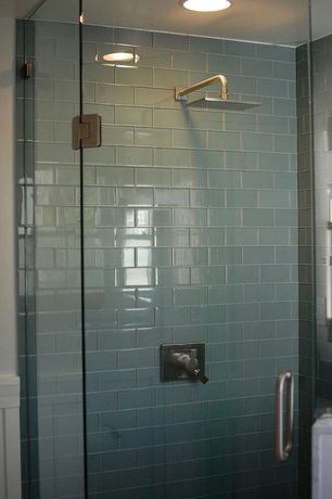 Contemporary 3/4 Bathroom with frameless showerdoor, Modwalls Lush Fog Bank 3x6 Glass Subway Tile, Rain shower, flush light