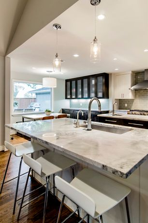 Contemporary Kitchen with Inset cabinets, U-shaped, Pendant light, Breakfast bar, Subway Tile, Kitchen island, Breakfast nook