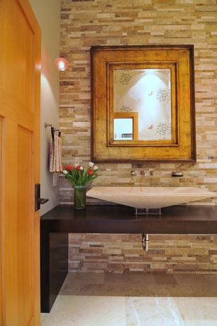 Contemporary Powder Room with Paint, specialty door, Vessel sink, Wood counters, Pendant light, Powder room, Standard height
