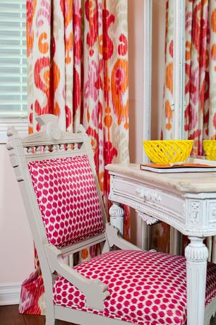 Eclectic Kids Bedroom with Richtex Home Ikat Floral Redbud Drapery Fabric, Hardwood floors, Madeline Weinrib Mu Ikat Fabric