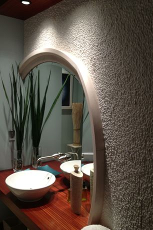 Modern 3/4 Bathroom with can lights, Standard height, Wood counters, Paint, Round Ceramic Vessel Bathroom Sink with Overflow