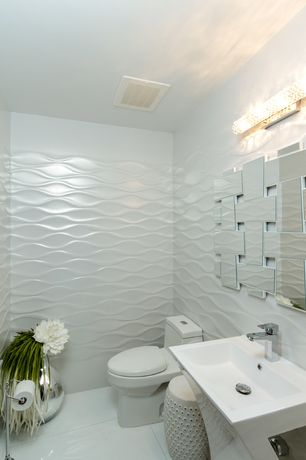 Modern Powder Room with Porcelanosa Dubai Nacar Wall Tile, Daltile Gallery White Ceramic Field Tile, Standard height, Paint 1