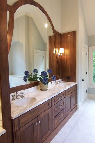 Traditional Master Bathroom with specialty door, Inset cabinets, Complex Marble, Complex marble counters, Cathedral ceiling