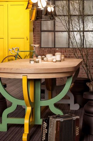 Eclectic Dining Room with interior brick, Moooi Marcel Wanders Container Stool New Antiques, Carpet, Built-in bookshelf