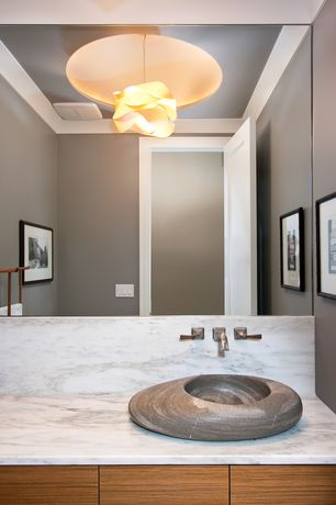 Contemporary Powder Room with Simple Marble, Lzf link modular lamp, Powder room, Simple marble counters, Vessel sink