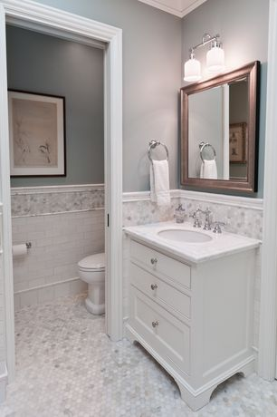 Traditional Master Bathroom with Penny Tile, Inset cabinets, penny tile floors, European Cabinets, Undermount sink