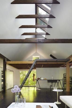 Contemporary Great Room with Columns, Hardwood floors, Maple - Peppercorn 5 in. Engineered Hardwood Wide Plank, Skylight