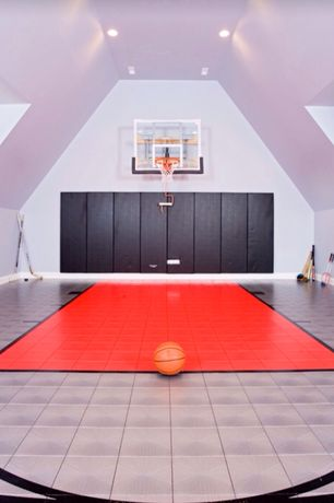 Contemporary Home Gym with Goalsetter Garage/Wall Mount Basketball Goal System, Sunny Health & Fitness Folding Gym Mat, Mural