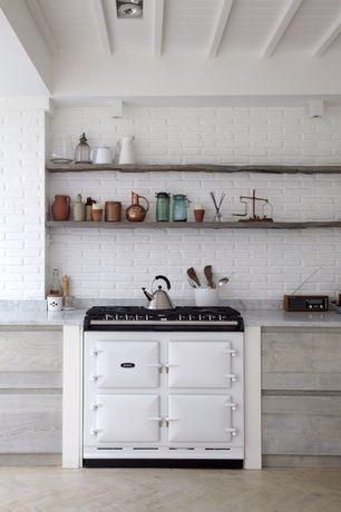 Country Kitchen with Floating wood shelves, flush light, full backsplash, One-wall, Exposed beam, can lights, Standard height