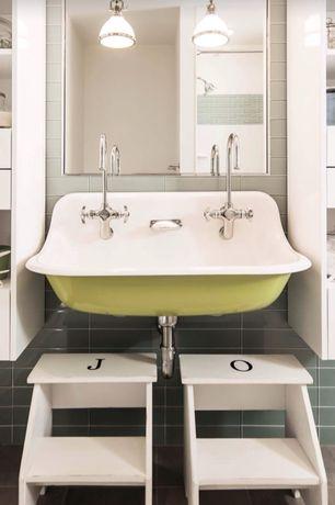 Contemporary Full Bathroom with Kids bathroom, Pendant light, Wall mounted sink, Ikea Bekvam Step Stool