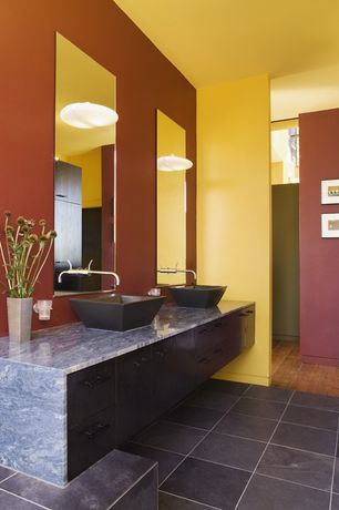 Contemporary Master Bathroom with Flush, Soapstone counters, Vessel sink, European Cabinets, Pental brazilian black slate
