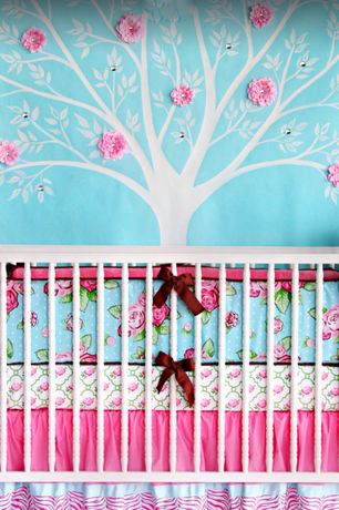 Eclectic Kids Bedroom with Kohls wallpops tree silhouette wall decals, Paint, Restoration hardware millbrook iron crib