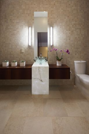 Contemporary Full Bathroom with Vessel sink, Daltile travertine collection mediterranean ivory, Wall sconce, Wood counters