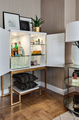 Modern Bar with High ceiling, interior wallpaper, Hardwood floors