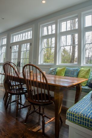 Cottage Dining Room with French doors, Liberty Furniture Low Country Windsor Back Side Dining Chair, Hardwood floors