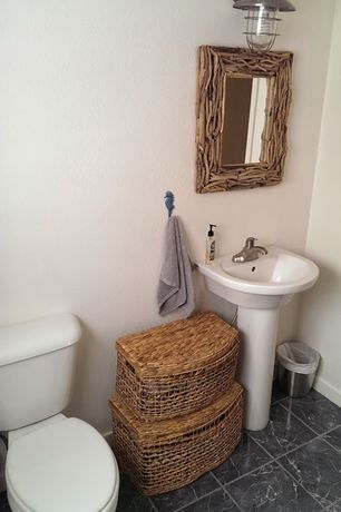 Rustic Powder Room with wall-mounted above mirror bathroom light, Powder room, Paint 1, High ceiling, Pedestal sink