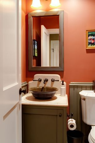 Cottage Powder Room with Standard height, Wainscotting, stone tile floors, specialty door, Inset cabinets, Powder room