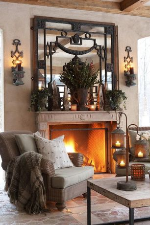 Mediterranean Living Room with Wall sconce, Daltile Aspen Lodge Mosaic Field Tile in Morning Breeze, Exposed beam