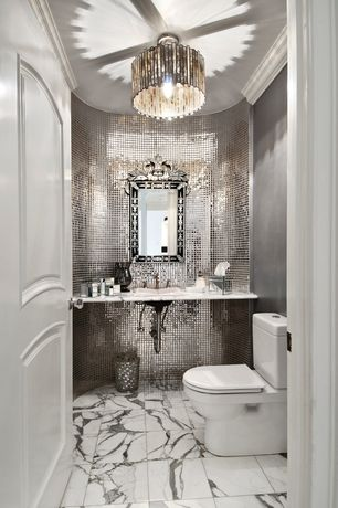 Art Deco Powder Room with ISI Silver 1 x 1 Mirror Glossy Glass Tile, Standard height, Chandelier, Crown molding, Ceramic Tile