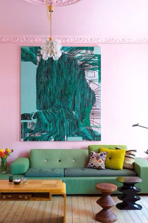 Eclectic Living Room with Jonathan adler sputnik pendant, Hardwood floors, Built-in bookshelf, Pendant light
