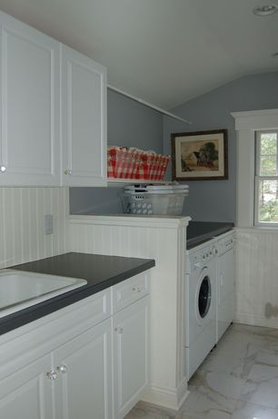 Cottage Laundry Room with Paint 1, Paint, double-hung window, Wainscotting, Beadboard backsplash, can lights, Casement