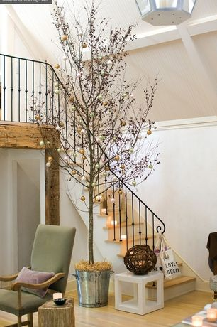 Cottage Staircase with High ceiling, Hardwood floors, Exposed beam, Crown molding