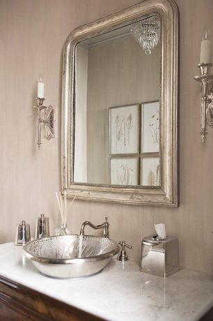 Traditional Powder Room with Crown molding, Wall sconce, Brass Elegans Copper Pewter Finish Vessel Bathroom Sink, Chandelier