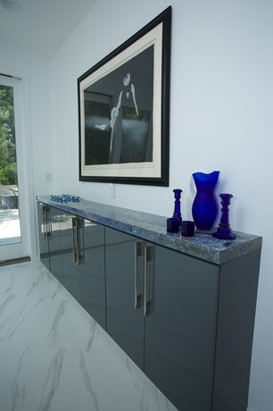 Contemporary Kitchen with European Cabinets, Ultracraft Adriatic Gloss Black Thermofoil CAbinets, Inset cabinets, One-wall
