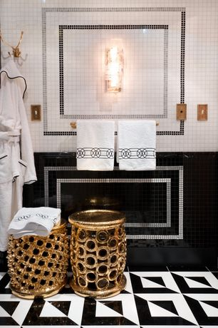 Contemporary Master Bathroom with Brilliant Styled Ceramic Gold Foot Stool by Woodland Import, Wall Tiles, Wall sconce