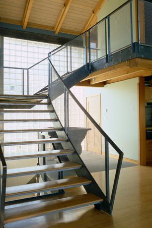 Contemporary Staircase with Exposed beam, High ceiling, Hardwood floors, Floating staircase