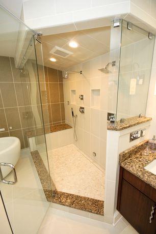 Modern Master Bathroom with stone tile floors, Simple Granite, Master bathroom, can lights, Shower, European Cabinets, Flush
