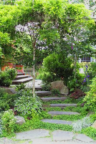 Traditional Landscape/Yard with Fence, Arbor, exterior stone floors, double-hung window, Pathway