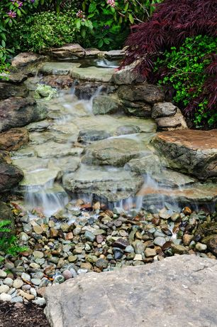 Contemporary Landscape/Yard with KelKay 4435 Frog Garden Decor Statue, Pond, Waterfall, Moutain River Jax River Rock