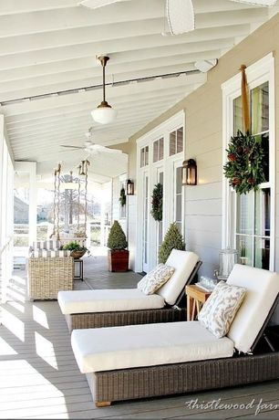 Traditional Porch with Three Birds Newport Teak Side Table, Screened porch, Shades of light schoolhouse pendant, French doors